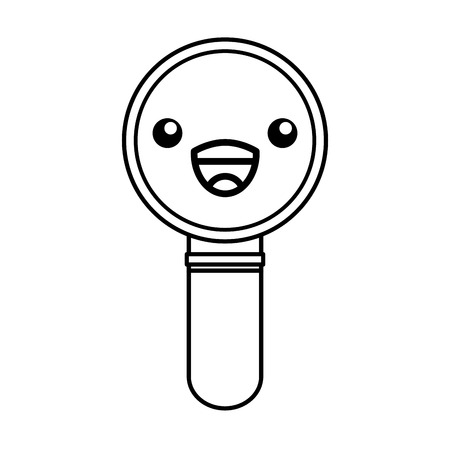 cute kawaii line icon magnifying glass cartoon vector Illustration