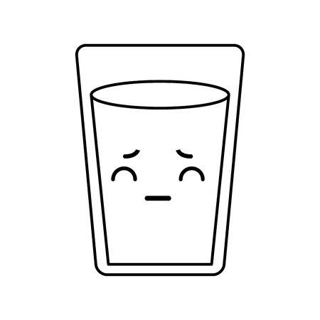 cute kawaii line icon water glass vector graphic design Illustration