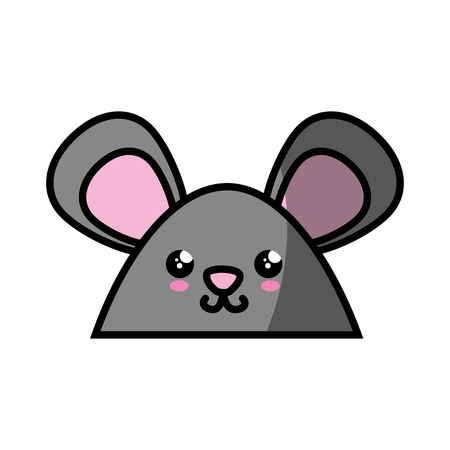 kawaii mouse animal icon over white background. colorful design. vector illustration