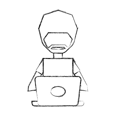 sketch draw man pc faceless cartoon vector graphic design Illustration
