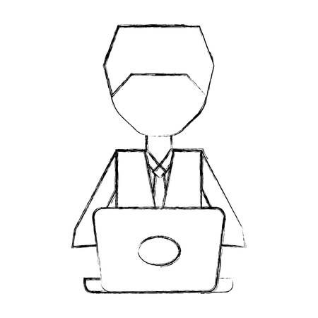 stealing data: sketch draw man pc faceless cartoon vector graphic design Illustration