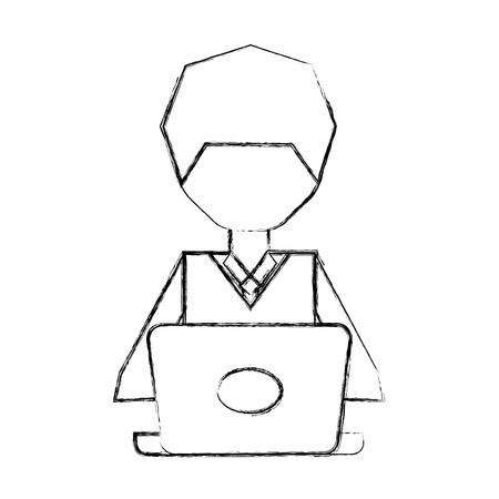 sketch draw man pc faceless cartoon vector graphic design Stock Vector - 79405003