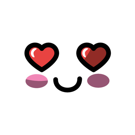 kawaii in love face icon over white background colorful design vector illustration