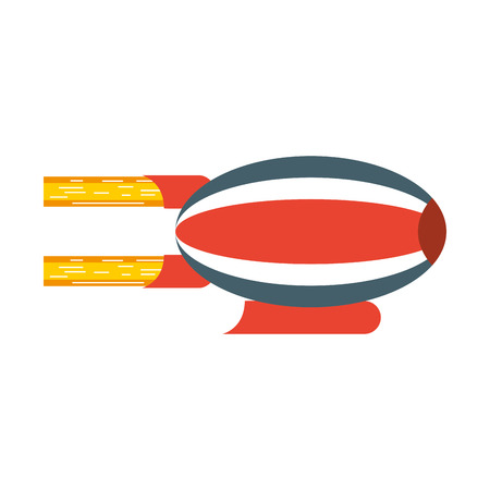 red and blue airship blimp cartoon vector graphic design