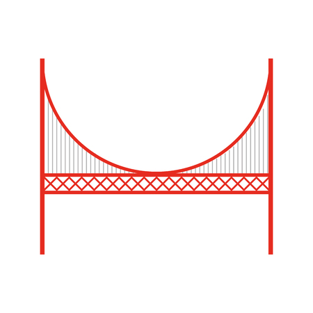 red golden gate bridge cartoon vector graphi design