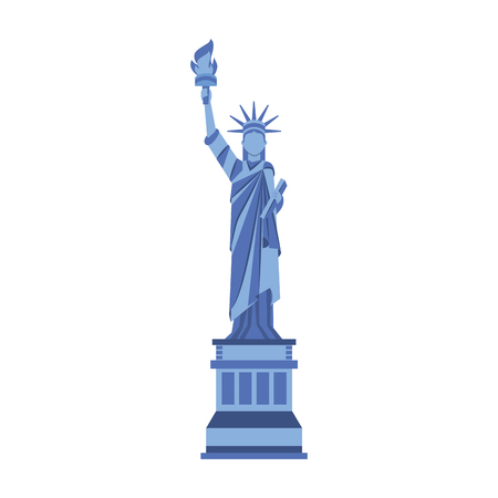 blue statue of liberty cartoon vector graphic design