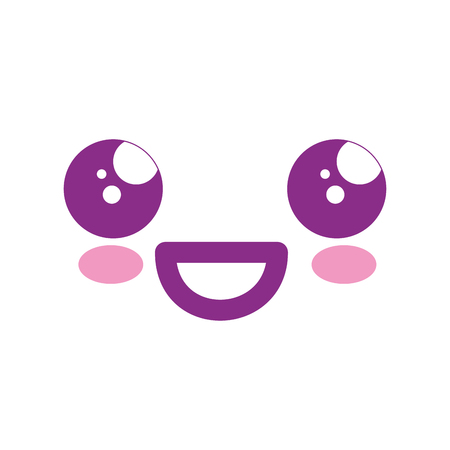 kawaii happy face icon over white background. vector illustration