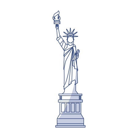 shadow blue statue of liberty cartoon vector graphic design Illustration