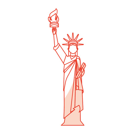 shadow red statue of liberty cartoon vector graphic design