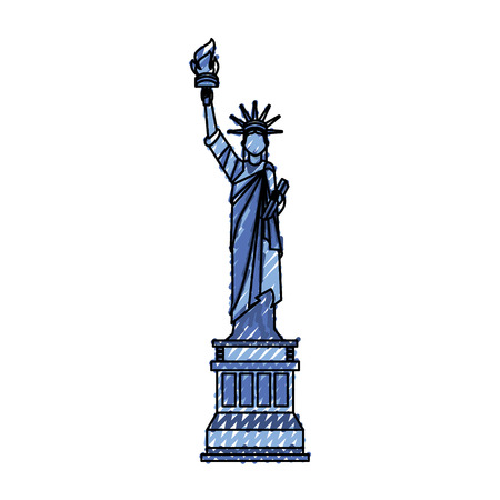scribble blue statue of liberty cartoon vector graphic design