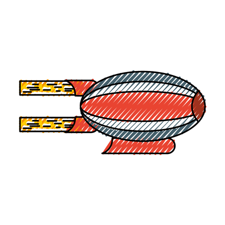 scribble red and blue airship blimp cartoon graphic design