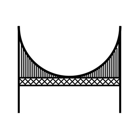 Black icon golden gate bridge cartoon vector graphic design