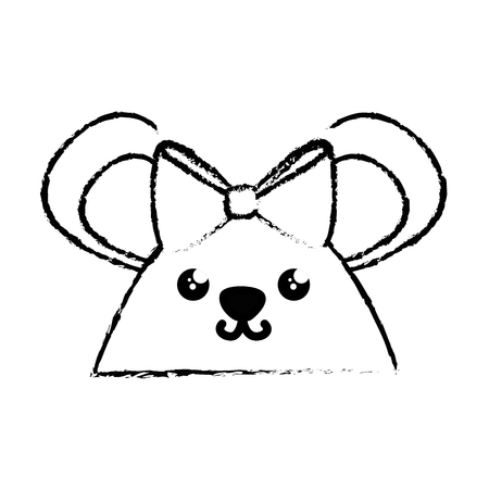 Kawaii mouse animal icon over white background. Vector illustration Illustration
