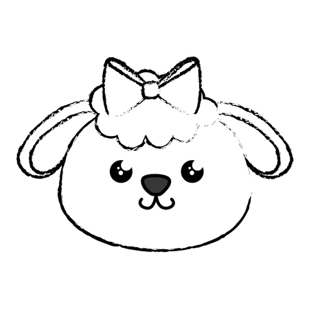 Kawaii sheep animal icon over white background. Vector illustration Illustration