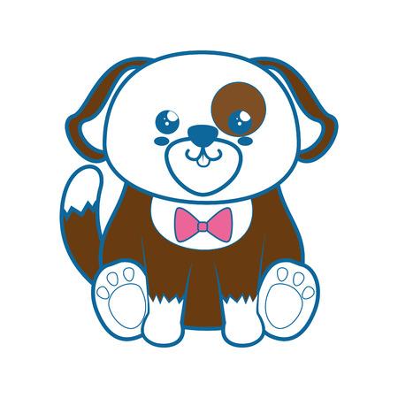 Kawaii szczeniak zwierząt ikona na białym tle ilustracji wektorowych