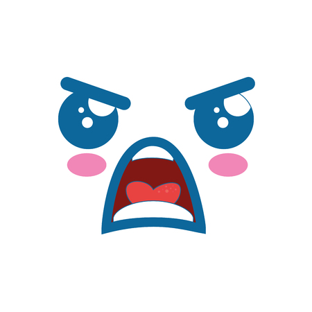 Kawaii angry face icon over white background vector illustration Illustration