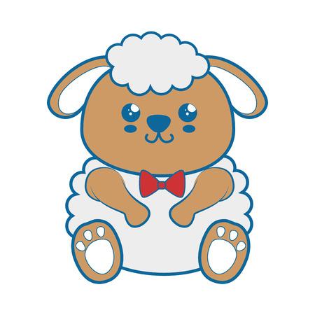 kawaii sheep animal icon over white background. vector illustration