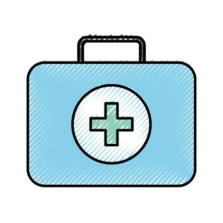 Krabbel blauwe medische tas cartoon vector grafische vormgeving Stock Illustratie