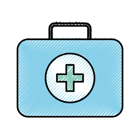 scribble blue medical bag cartoon vector graphic design