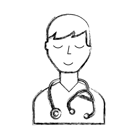 Sketch draw doctor character cartoon vector graphic design