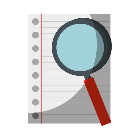 paper sheet and magnifying glass icon over white background. vector illustration