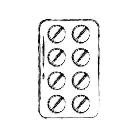 Sketch draw blister pack pills vector graphic design Ilustrace