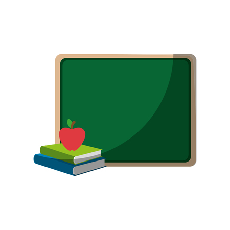 school chalkboard and apple icon over white background vector illustration