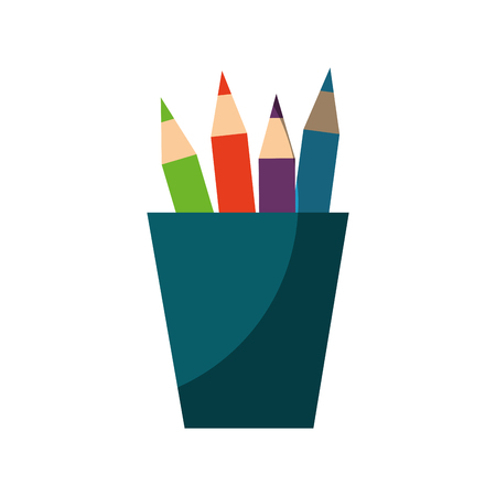 cup with pencil colors icon over white background vector illustration