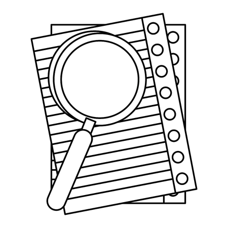 paper sheet and magnifying glass icon over white background. vector illustration Stock Vector - 79412829