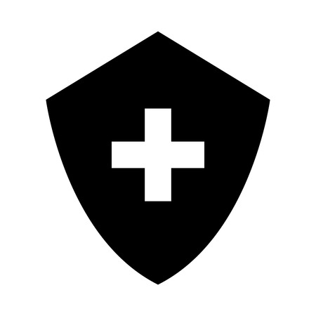 black icon medical shield cartoon vector graphic design