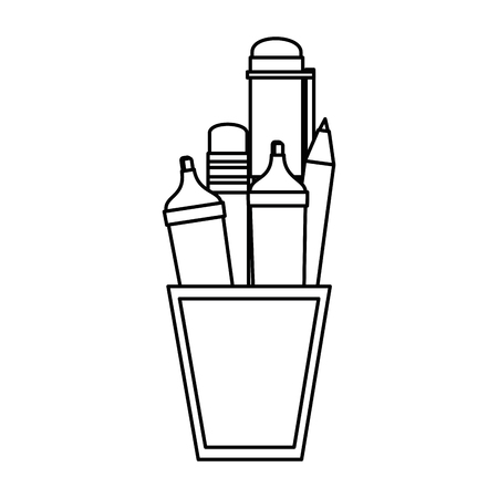 cup with pen and utensils icon over white background vector illustration Çizim