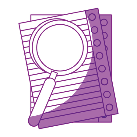 白い背景の上の紙のシートと虫眼鏡アイコン。ベクトル図