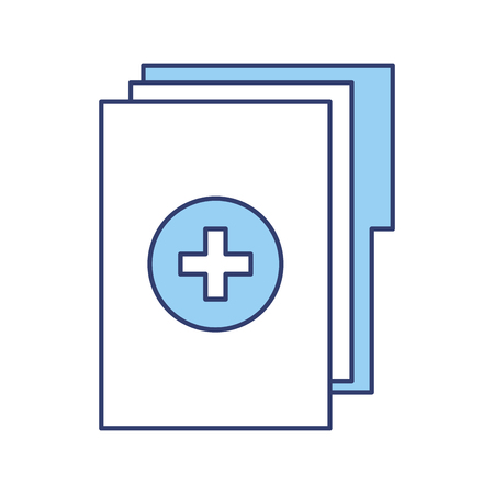 Blue medical history folder vector graphic design