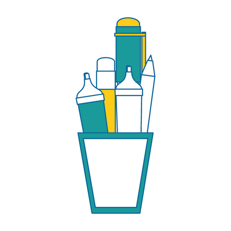 cup with pencils and utensil icon over white background vector illustration Stok Fotoğraf - 79412956