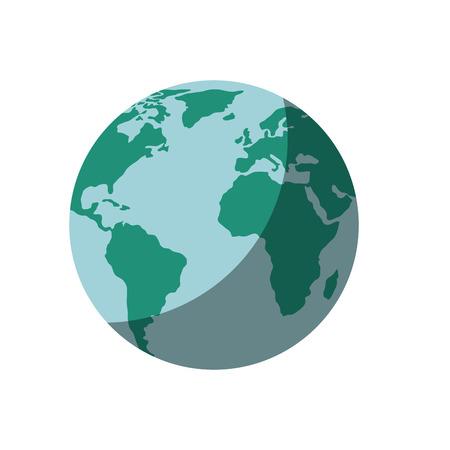 白背景ベクトル イラスト上の惑星地球アイコン  イラスト・ベクター素材