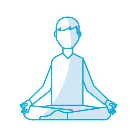 shadow blue lotus pose man cartoon vector grahic design Illustration