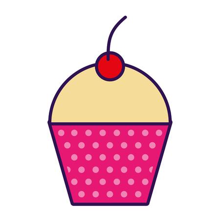cute fuchsia cupcake cartoon vector graphic design Illustration
