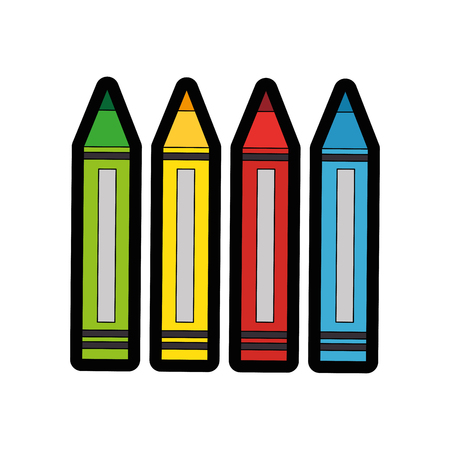 colors pencils icon over white background vector illustration