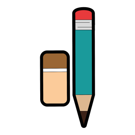 pencil and eraser icon over white background vector illustration Stok Fotoğraf - 79413031