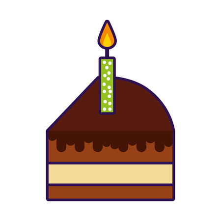 cute cake slice cartoon vector graphic design