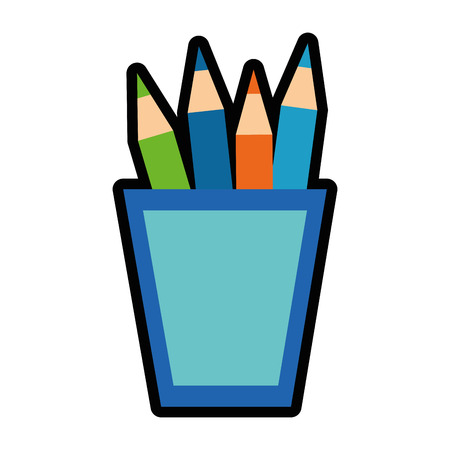 cup with colors pencils icon over white background. vector illustration