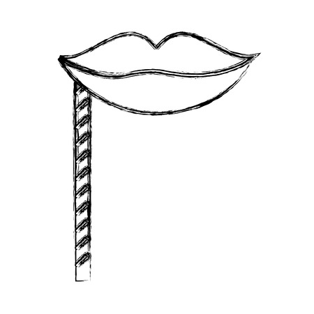 sketch draw party booth props lips vector graphic design Illustration