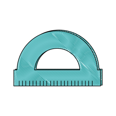 protractor ruler utensil  icon over white background. colorful design. vector illustration Illustration