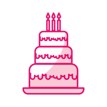 Shadow Cute Birthday Cake Cartoon Vector Graphic Design Royalty Free