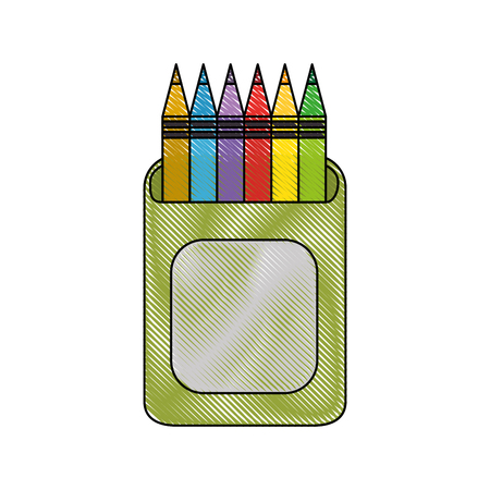 cup with colors pencils icon over white background vector illustration