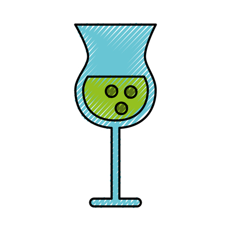 Scribble alcohol beker cartoon vector grafisch ontwerp