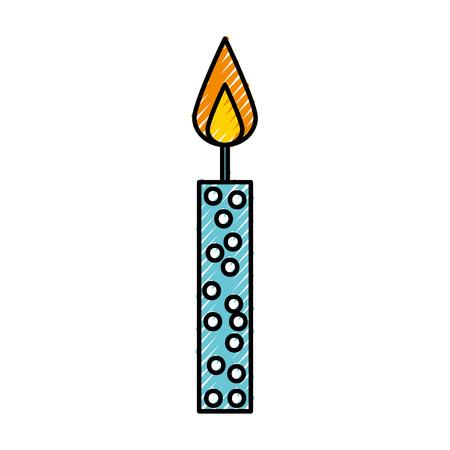 scribble cute blue birthday candle cartoon vector graphic design