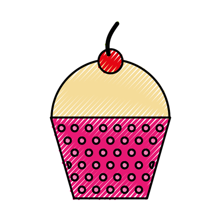 Scribble cute fuchsia cupcake cartoon vector graphic design