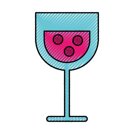 Scribble cartoon glass wine vector graphic design