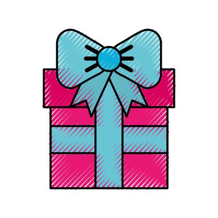Scribble cute fuchsia gift cartoon vector graphic design